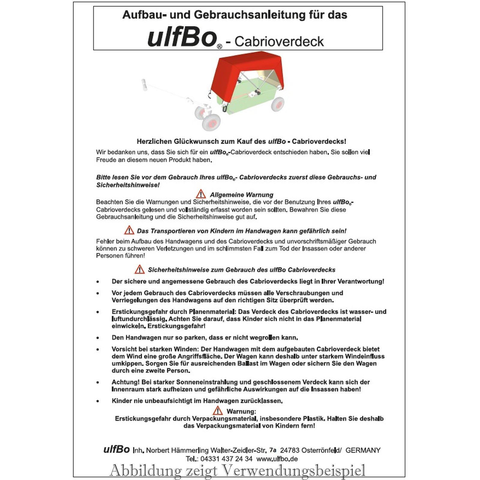 Gebrauchsanleitung für ulfBo-Cabrioverdeck, 1,00 €